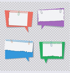 colored speech bubble with white torn paper pieces vector image