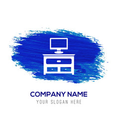 Computer table icon - blue watercolor background vector