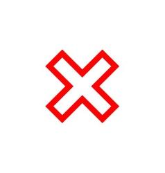 Cross sign red element vector