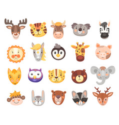 cute cartoon animal faces and heads vector image