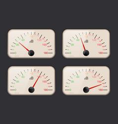 decibel meters on dark background vector image