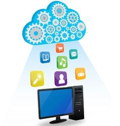 Desktop cloud computing vector