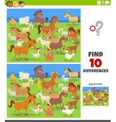 differences educational game with farm animals vector image