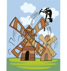 Don Quixote and windmill vector