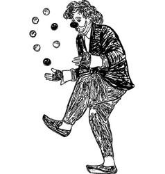 Drawing of a clown juggling balls vector