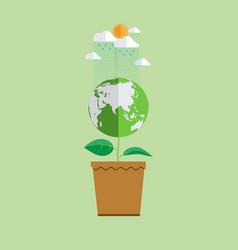 Eco concept earth in plant shape vector