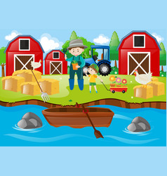 Farmer and boy in the farmyard vector