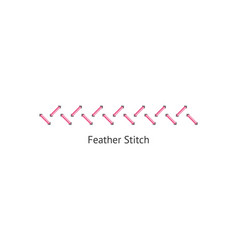 Feather stitch endless sewing border and line on vector
