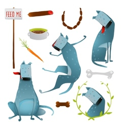 Feeding Happy Hungry Dogs Healthy Diet Clip Art vector