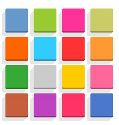 Flat blank web button square icon set with shadow vector