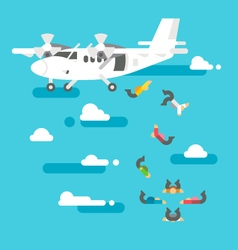 Flat design people skydiving vector