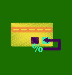 Flat shading style icon bank card vector