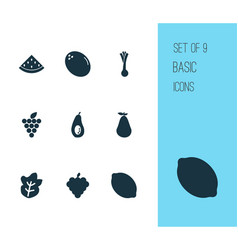 food icons set with salad virgin melon and other vector image