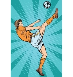 Football soccer player kick the ball vector