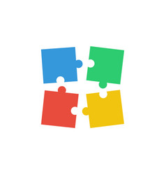 four puzzle teamwork business vector image