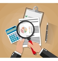 Hands with magnifier analysis paper sheet vector