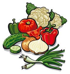 Harvest of vegetables vector