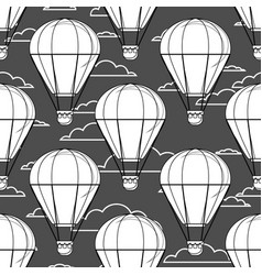 hot air balloon little balloons clouds cartoon vector image