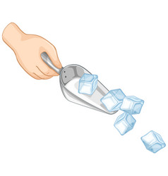 Ice cubes in metal spoon on white background vector