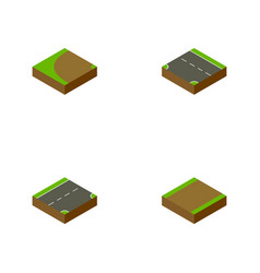 Isometric road set of down footpath turning and vector