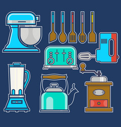 Kitchen and cooking vintage elements set of vector