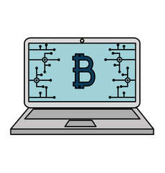 laptop computer with bitcoin commerce vector image