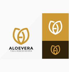 Letter a aloevera beauty care logo design vector