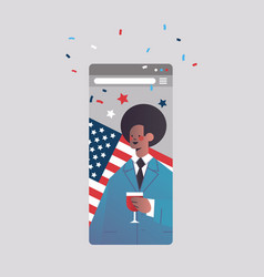 Man drinking wine celebrating 4th july american vector
