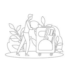 Man suitcase airplane ticket tourism line vector