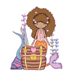 mermaid with treasure chest undersea scene vector image