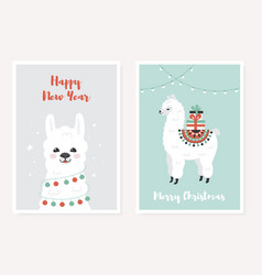 merry christmas greeting posters set cute llama vector image