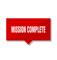 Mission complete red tag vector