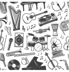musical instruments monochrome seamless pattern vector image