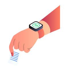 Nfc smart watch icon isometric style vector