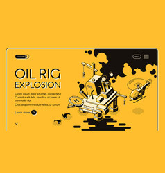 Oil rig explosion isometric web banner vector