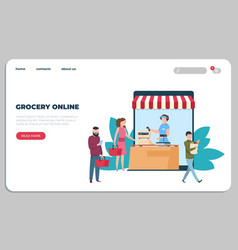 Online grocery food delivery landing page courier vector