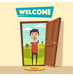 Open door Welcome Cartoon vector