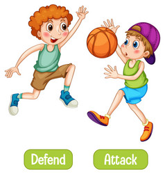 Opposite words with defend and attack vector