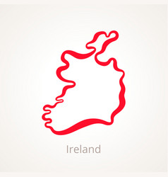 Outline map of ireland marked with red line vector