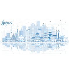 Outline welcome to japan skyline with blue vector