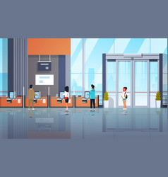 people clients using self service machines payment vector image