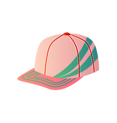 Pink baseball cap with green decor on one side on vector
