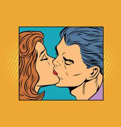 Poster man and woman kissing vector