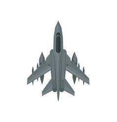 Powerful fighter jet fast military aircraft vector