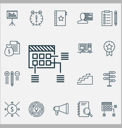 project icons set with project planning cash flow vector image