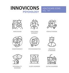Psychology concept - line design style icons set vector