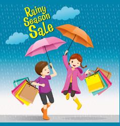 Rainy season sale boy and girl under umbrella vector