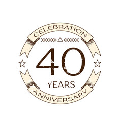 Realistic forty years anniversary celebration logo vector