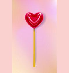 realistic heart lollipop candy 3d closeup happy vector image