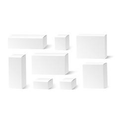 realistic white blank boxes mockup set vector image